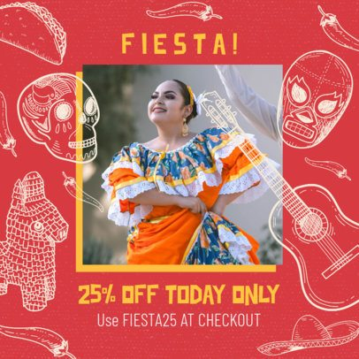 Instagram Post Template Featuring Mexican Culture Graphics 2437a