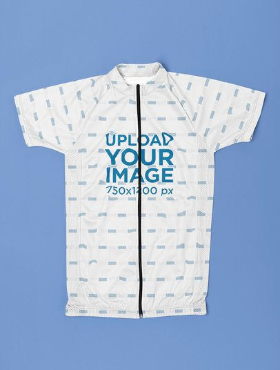 Mockup of a Sublimated Cycling Jersey Placed over a Flat Surface 33406