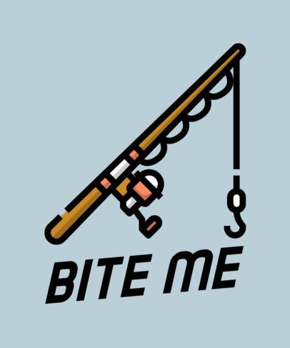 T-Shirt Design Template Featuring a Fishing Rod 758e-el1