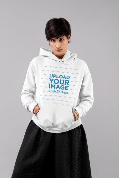 Hoodie Mockup of an Androgynous-Looking Woman at a Studio 32925