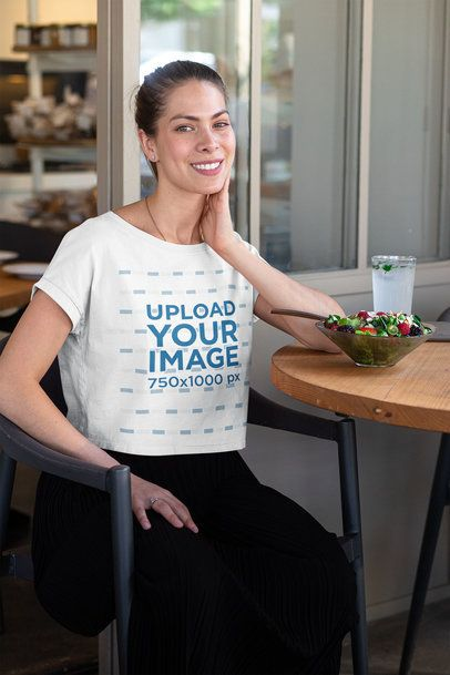 Crop Top Mockup of a Woman at a Restaurant Eating a Fresh Salad 32766