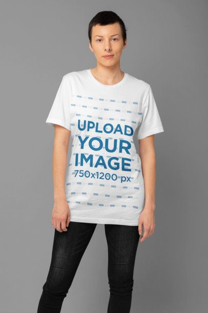 Mockup of an Androgynous Woman Wearing a Slouchy Tee 32916