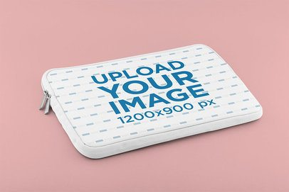 Mockup Featuring a Laptop Sleeve on a Solid Surface 33398