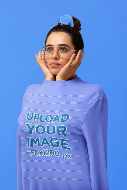 Artistic Mockup of a Woman with Her Arms Inside a Sweatshirt 32824