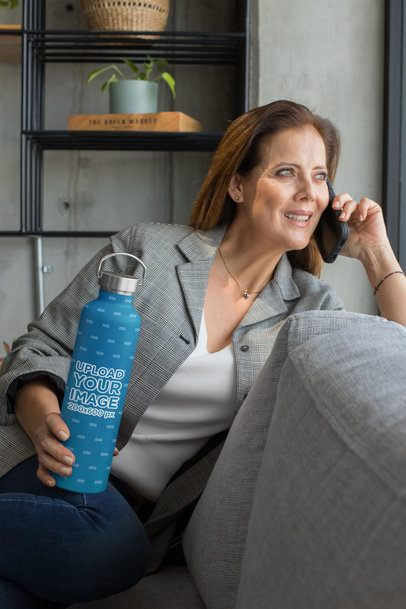 Aluminum Bottle Mockup Featuring a Woman Relaxing on a Couch 33533