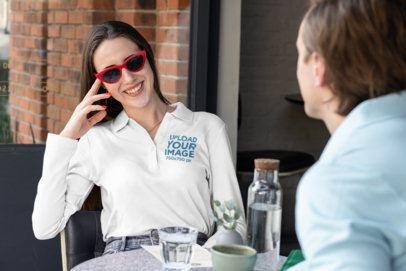 Long-Sleeve Polo Shirt Mockup Featuring a Woman with Sunglasses 33461