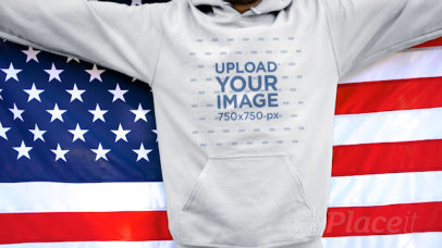 Hoodie Video of a Man Proudly Holding an American Flag 33789