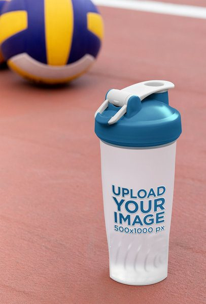 Mockup of a Blender Bottle Next to Some Volleyballs 33675