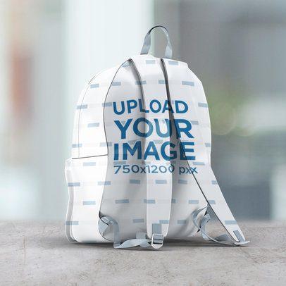 Mockup of the Back Side of a Backpack 3539-el1