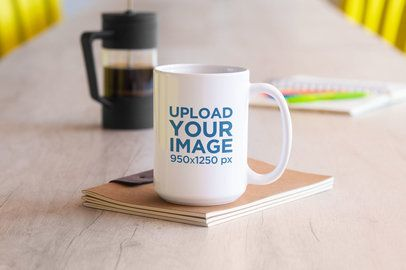 Sticker Mockup Featuring a Coffee Mug Placed on a Desk 33597