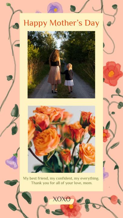 Floral Instagram Story Template for a Mother's Day Message 2451a