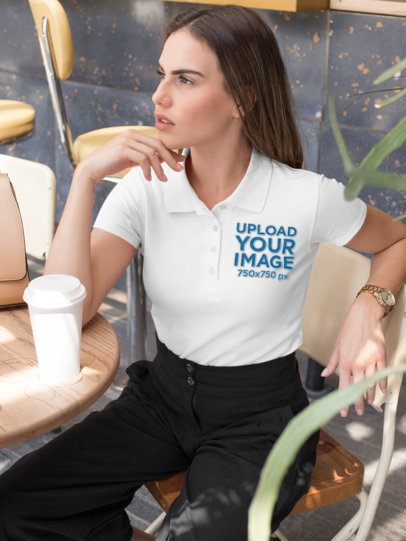 Polo Shirt Mockup of a Woman at a Cafe 33545