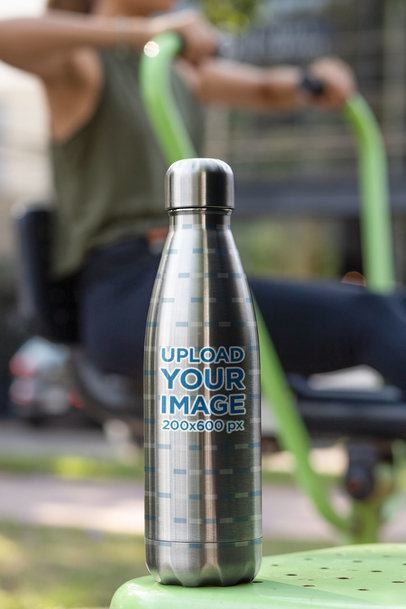 Aluminum Bottle Featuring a Woman Exercising 33517