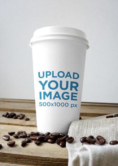 Coffee Cup Mockup Featuring Some Coffee Beans 3786-el1