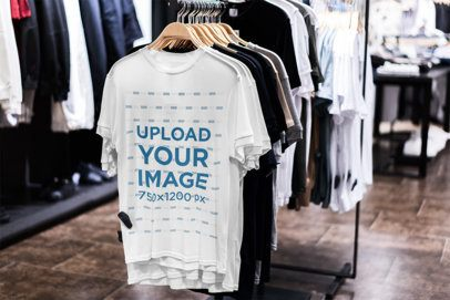 Mockup of a T-Shirt Hanged in a Store 3705-el1