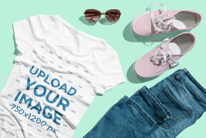 T-Shirt Mockup of an Outfit with Pink Shoes 3740-el1
