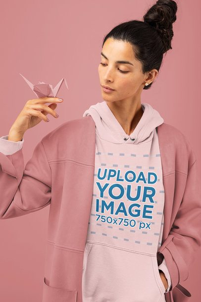 Hoodie Mockup of a Woman with an Origami Figure 32729