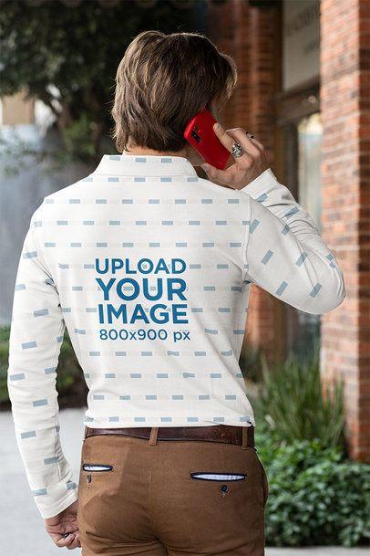 Back View Mockup of a Man Wearing a Long-Sleeve Polo Shirt 33475