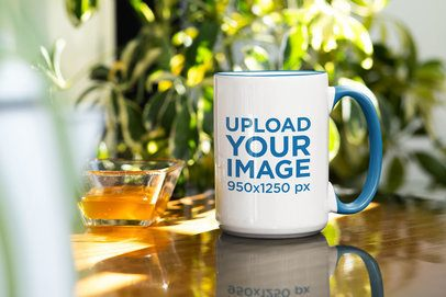 Mockup Featuring a 15 oz Mug with a Different Handle Color 33663