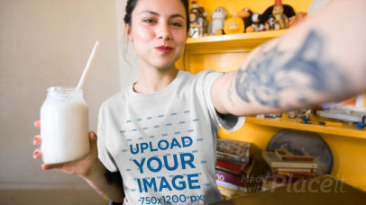 Selfie T-Shirt Video of a Woman Drinking a Milkshake 17115