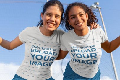 Jersey Mockup of Two Happy Friends with Soccer Uniforms 33568