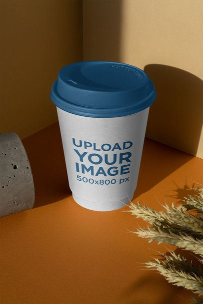Coffee Cup Mockup with a Customizable Lid by Some Dry Wheatgrass 3767-el1
