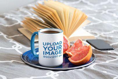Mockup of a 15 oz Mug on a Plate with Grapefruit 33668