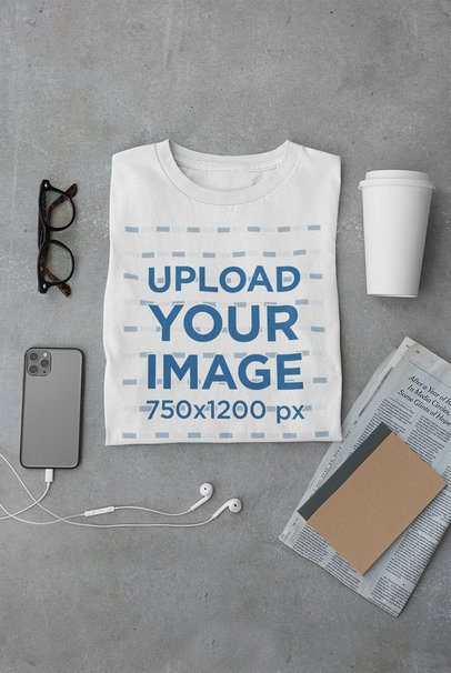 Mockup of a Folded T-Shirt Featuring Different Items 33683