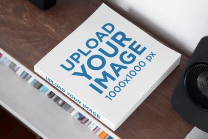 Mockup of a Square Book with a Customizable Spine 33906