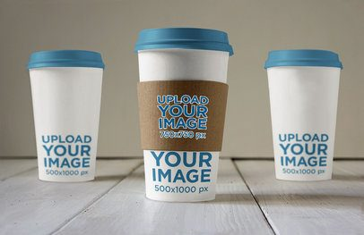 Mockup of Three Coffee Cups with Customizable Lids 3799-el1
