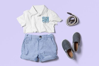 Polo Shirt Mockup Featuring a Boy's Outfit 3011-el1