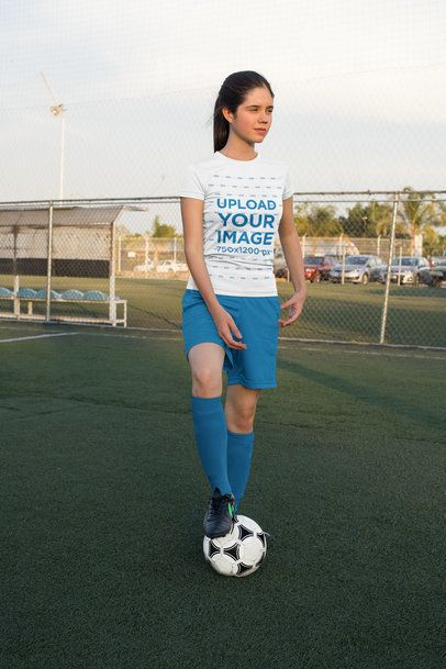 Jersey Mockup of a Female Player with a Soccer Ball 33574