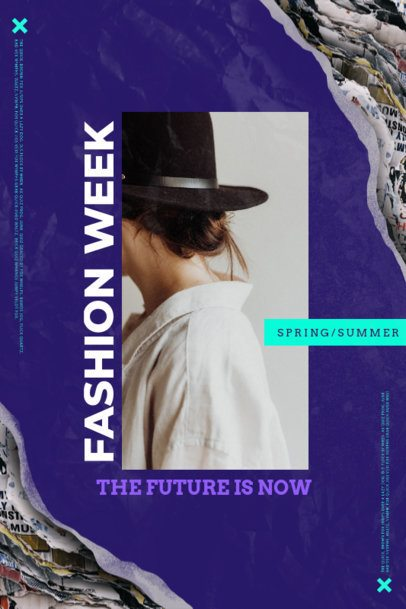 Poster Template for a Fashion Week Featuring a Rebellious Style 2466e