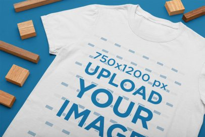 Close-up Mockup of a T-Shirt Placed by Wooden Pieces 33940