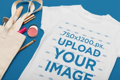 Flat Lay Mockup of a T-Shirt Featuring Some Makeup 33947