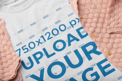 Mockup of a Tee Placed with a Knitted Garment 33952