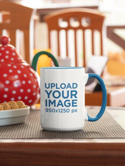 15 oz Colored Rim Mug Mockup Featuring Biscuits and a Colored Teapot 33820