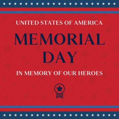 Patriotic Facebook Post Design Template to Celebrate Memorial Day 2486
