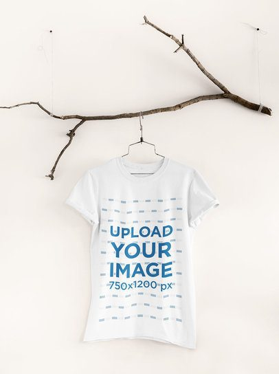 Mockup of a Tee Hanging from an Ornamental Branch 33730