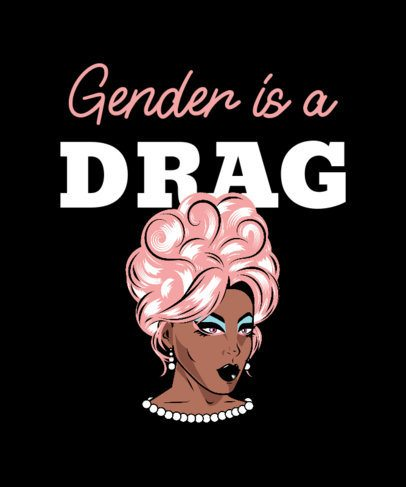T-Shirt Design Creator Featuring a Drag Queen Illustration with a Pink Wig 2480c