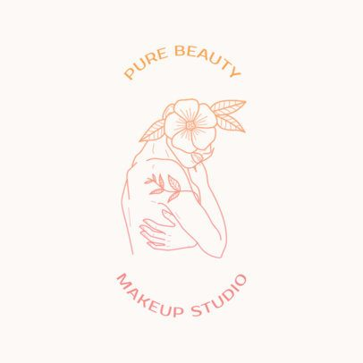 Makeup Studio Logo Creator Featuring a Drawing of a Woman and a Flower 3194c