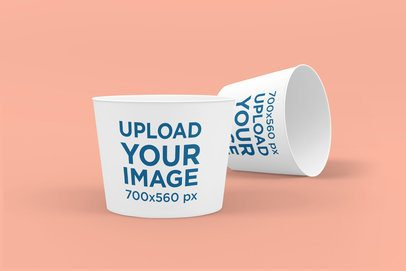 Delivery Mockup Featuring Two Food Cups Against a Solid Color Background 4012-el1