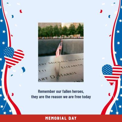 Instagram Post Template to Praise War Heroes on Memorial Day 2385j