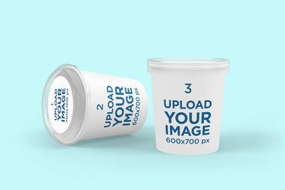 Packaging Mockup Featuring Two Customizable Paper Food Cups 4008-el1