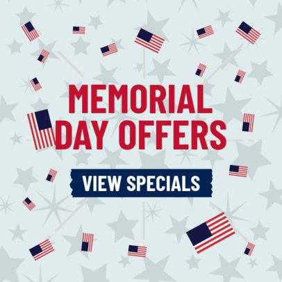 Banner Template Featuring a Promo for Memorial Day 2488e
