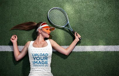 Tank Top Mockup of a Woman Lying on a Tennis Court 34190-r-el2