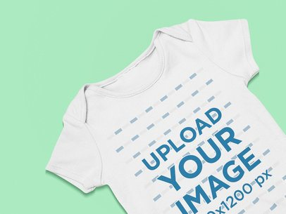 Closeup-View Mockup of a Baby Onesie 25516