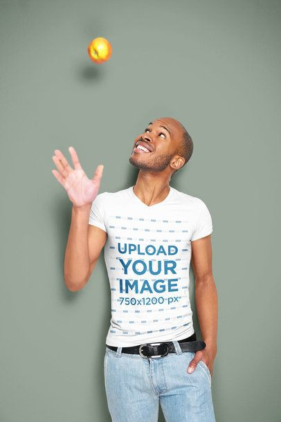 V-Neck Tee Mockup of a Man Playing with an Apple 34097-r-el2