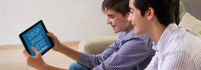 iPad Mockup in Landscape Position Featuring Two Male Teens 13061wide