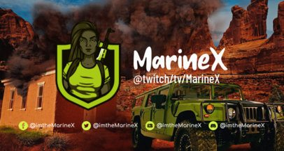 Twitch Banner Template with a Female Shooter Inspired by PUBG 2510c